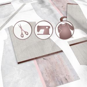 SKADIY ¾ sleeve dress wabisabi 031 fabric